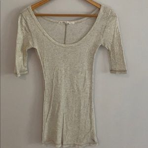 Abercrombie & Fitch Heathered Ivory Basic Top